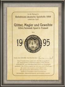 DSA_Schwarze_Auge_Museum_Aventurien_Urkunde_Deutscher_Abenteuer_Spiele_Preis_Götter_Magier_Geweihte