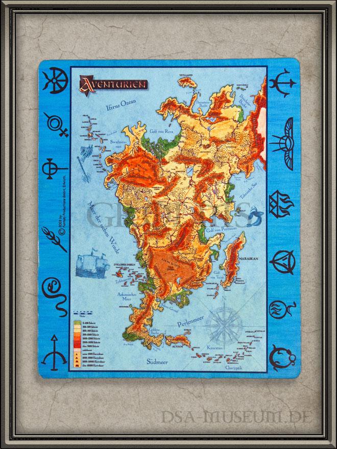 Dsa Karte.Aventurien Karte Mousepad Das Dsa Museum