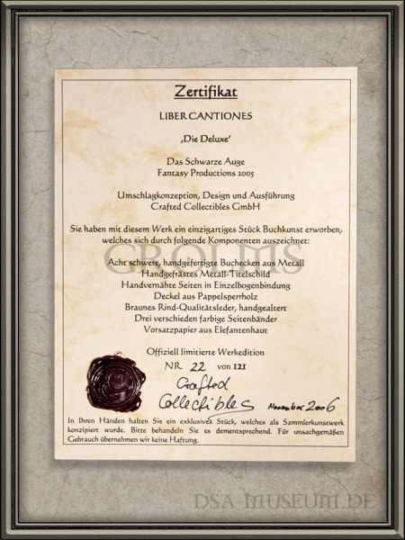 DSA_Schwarze_Auge_Museum_Limitiert_Liber_Cantiones_Crafted_Collectibles_Deluxe_Zertifikat