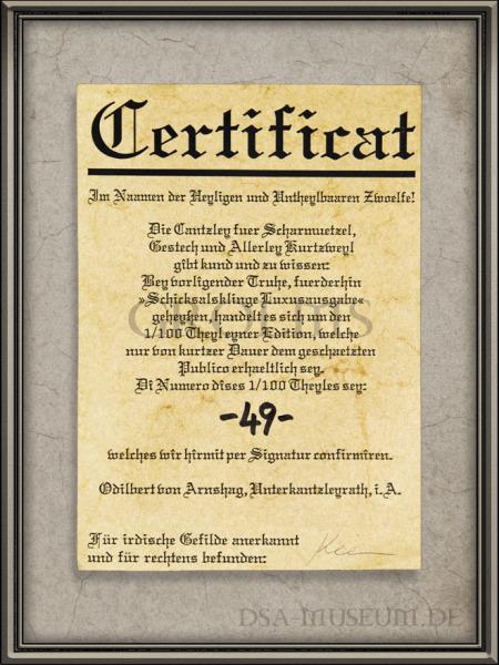 DSA_Schwarze_Auge_Museum_Limitiert_Schicksalsklinge_Luxusausgabe_Holz-Truhe_Zertifikat