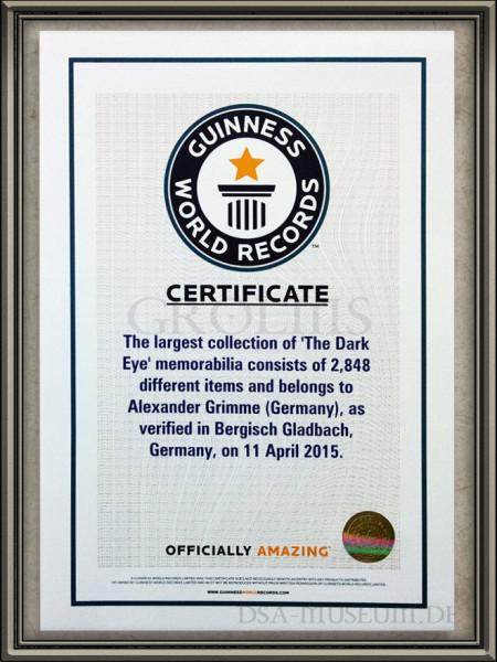 Guiness World Records-Urkunde für die größte DSA-Sammlung