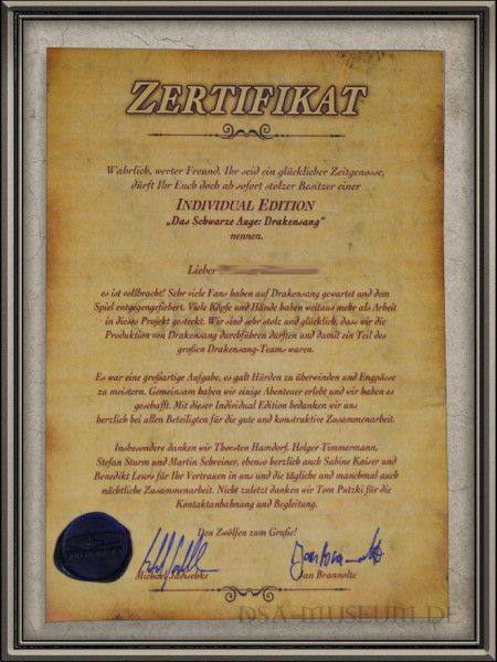 Drakensang Individual Edition (Limited Collectors Edition Sonderausgabe) - Zertifikat