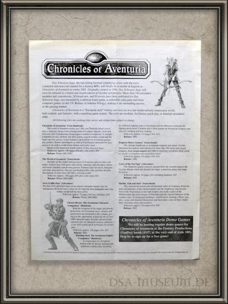 Chronicles of Aventuria (später: The Dark Eye) Werbe-Flyer