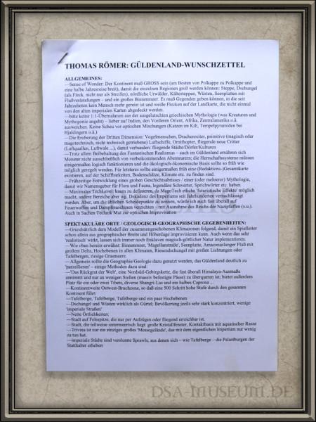 Güldenland-Wunschzettel als Design-Vorgabe für das spätere Myranor