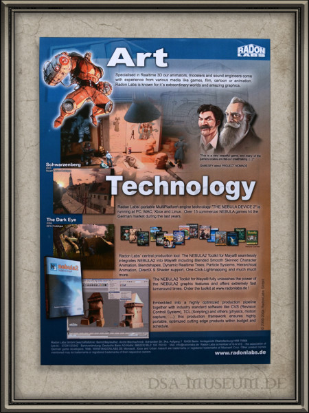 Alter Radon Labs Firmenflyer (2004) mit den allerersten Drakensang Screenshot
