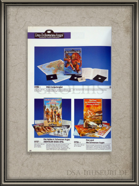 Werbung für das DSA-Computerspiel im Schmidt Spiele Händlerkatalog 1992