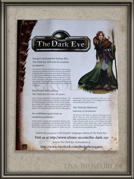 Free RPG-Day 2016 The Dark Eye Schnellstartregeln Back Cover