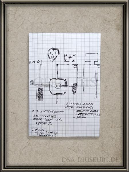"""Skizze zu einem """"architektonisch angelegtem Szenariovorschlag"""" (Dungeon) aus einem Game Design Book von Boris Arndt"""