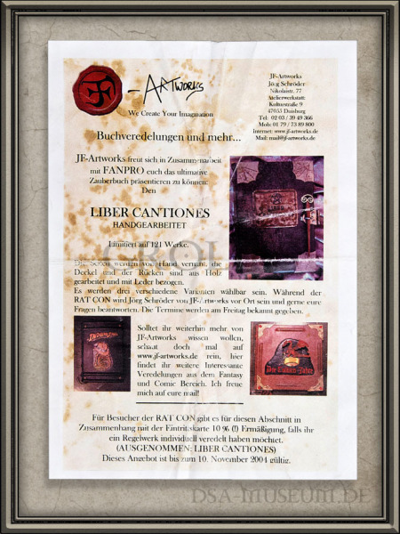 DSA_Schwarze_Auge_Museum_Liber_Cantiones_Crafted_Collectibles_Flyer
