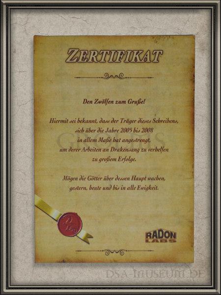 Drakensang Limited Collector's Edition Mitarbeiterausgabe: Zertifikat der Mitarbeiterausgabe