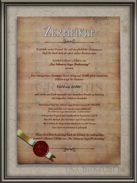 """Drakensang Limited Collector's Edition Mitarbeiterausgabe: Zertifikat der """"regulären"""" Limited Edition zum Vergleich"""