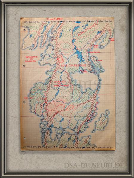 Frühe Skizze der Güldenland-Karte (später auch Myranor genannt)