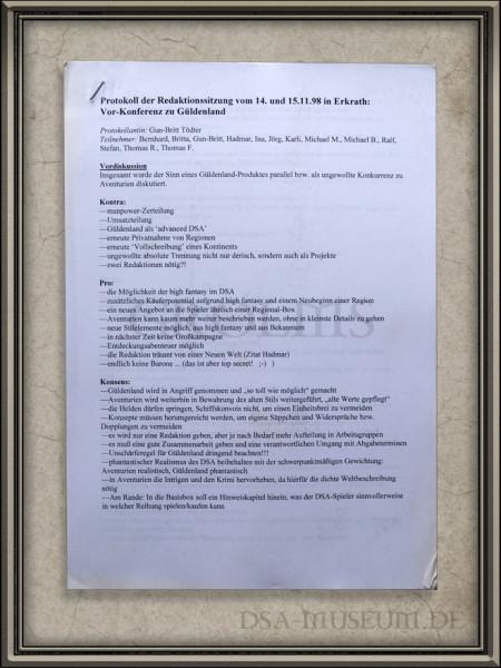 Protokoll einer Redaktionssitzung zum Güldenland (später auch Myranor genannt)