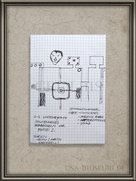 """Skizze zu einem """"architektonisch angelegtem Szenariovorschlag"""" (Dungeon) aus einem Game Design Book von Boris Arendt"""